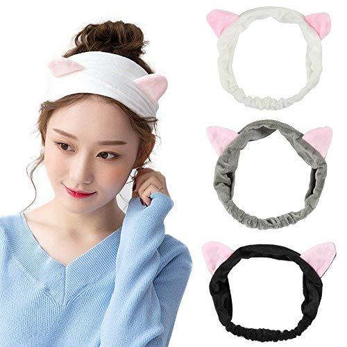 YMHPRIDE Nette reizende Mädchen Damen Katze Ohren Stirnband Frauen Schöne Make-up Dusche Gesicht waschen Haarband Grau Weiß und Schwarz