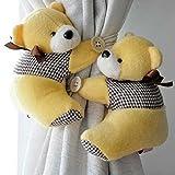 funie Cute Furry Bär Vorhang Raffhalter Schnalle Häkchenverschluss, Kabellos, Kinder Schlafzimmer Fenster, Stoff, Gelb, Einheitsgröße