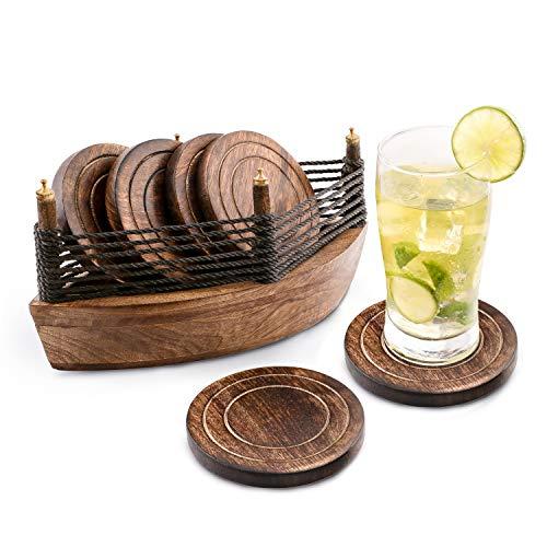 6er -Set handgefertigter Getränke-Untersetzer aus Holz: umweltfreundlich, saugfähig , mit antiker Optik. -