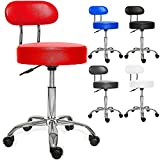 Kesser Rollhocker Drehstuhl Arbeitshocker Drehhocker Arzthocker Praxishocker Laborhocker Stuhl Sitz Hocker Kosmetik Dicke Polsterung (Rot mit Lehne)