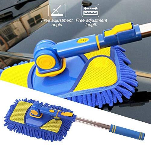 Sunnyushine Autowaschbürste Mit Teleskopstiel,Abnehmbar Teleskop Staubwedel Soft Microfiber Waschen Autowasch-Mopp-Bürste,für Wohnwagen, Fenster, Boden