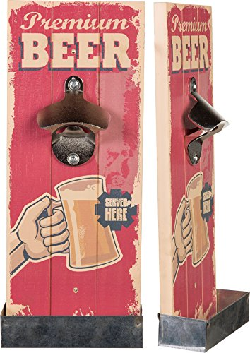 Flaschenöffner Vintage auf Holz für Wand Premium Beer ROT