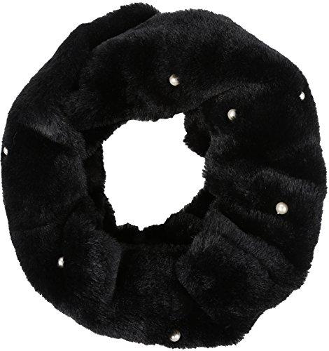 Schwarz Faux Pelz-stiefel (Sakkas 16104 - Sabby langer dünner Faux-Pelz-Perlen-Verschönerung, warme weiche Infinity-Schal - Schwarz - OS)