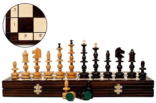 Master of Chess Stilvolle ALTE POLNISCHE 56cm / 22in Kupfer Incrusted Luxury Sculpted Holz Schachspiel, Luxus Schachspiel