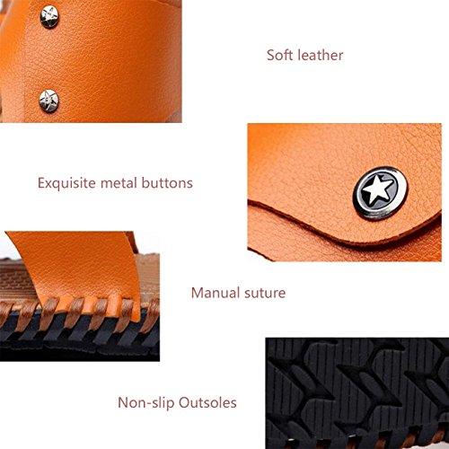 PBXP Handgewebte rutschfeste Outsoles Dual-Use Männer gesunde Outdoor Leder Hausschuhe Sandalen Clip Toe Open Toe Einfache Strand Breathable Casual Sandalen 38-44 Brown
