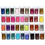 Kurtzy 36 pezzi Glitter Polvere - 10g Glitter Unghie - Glitter Fini - Artigianato Glitter - Polveri Glitter per Unghie, Viso, Album Ritagli, Creazione Cartoline, Tatuaggi - Artigianato Glitter