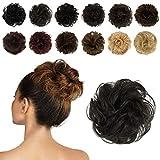 FESHFEN Postiche Chignon 100 % Cheveux Humains Extensions De Cheveux Bouclés Ondulés Chouchou Queue de Cheval Résistant à La Chaleur