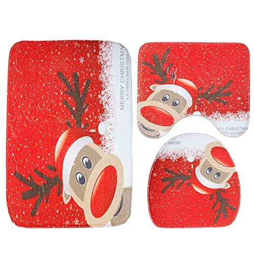 Hongfutong Badematten-Set, Weihnachtsdesign, 3-teilig, Badematte, WC-Deckel, Rutschfeste Fußmatten für Badezimmer, Heim- und Badezimmer-Dekoration 4#