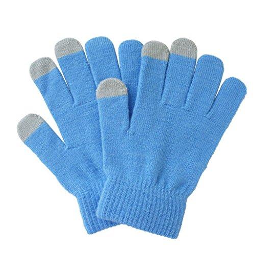 Magisch Stricken Touchscreen Handschuhe Smartphone Simsen Stretch Erwachsene Winter Handschuh Hellblau (Unisex Handschuh Stricken)