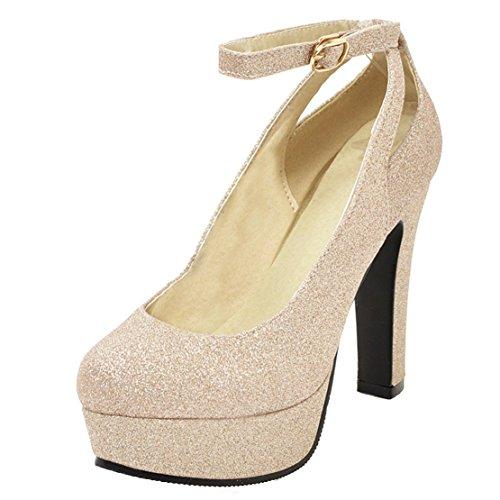 9c1d105de3cb36 AIYOUMEI Damen Glitzer High Heels Plateau Pumps mit Blockabsatz und  Riemchen Abend Schuhe