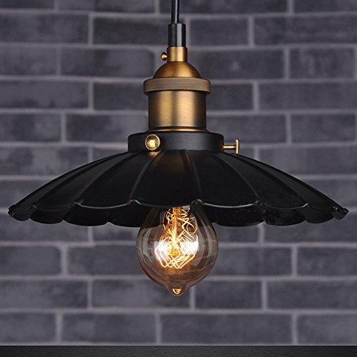 Cozyle Style industriel Loft Vintage Pendentif en métal léger parapluie noir 42cm