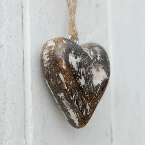 Petit Coeur blanc antique en bois de mangue