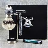 Silber Antik Style Herren ist Rasier-Set mit Silber Spitze Bürste und de Rasierhobel (Klingen Nicht Enthalten) Perfekte Fellpflege-Set Geschenk für ihn