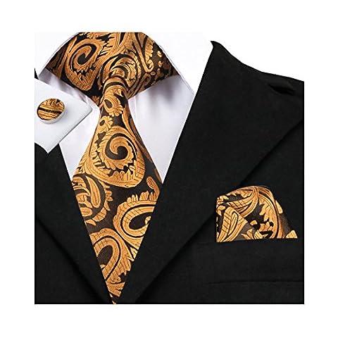 Hi-Tie Mens Gold Paisley Woven Silk Tie Necktie Hanky Cufflinks set