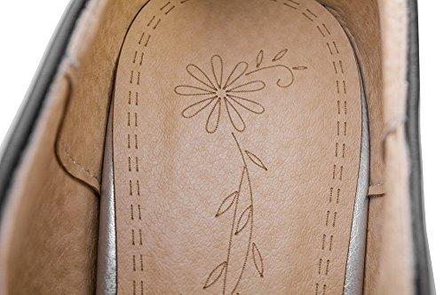 VogueZone009 Couleur Chaussures Rond Talon Tire Noir Haut Unie Femme à Légeres aaAR41rq