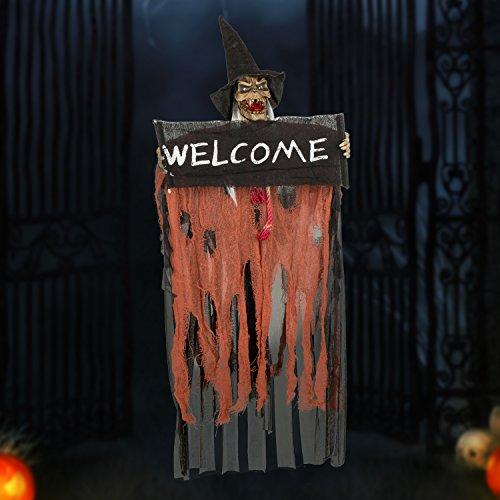 Halloween Figuren Dekoration Requisite BIGWING STYLE sprachaktiviertes Skelett / Geist mit glühend roten Augen und tollem Soundeffekt (orange)