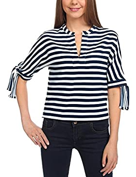 oodji Collection Mujer Blusa a Rayas de Estilo Marinero