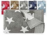 Frottierserie aus dem Hause Dyckhoff - 3er-Pack Handtücher oder ein Duschtuch - elegantes Streifendesign kombiniert mit Sternen - geprüfte Qualität, Duschtuch [70 x 140 cm], grau