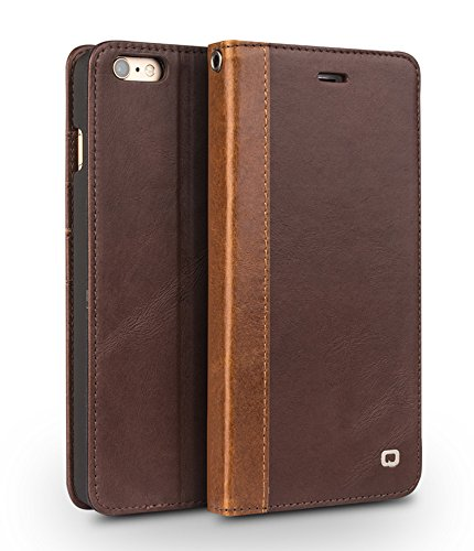 E Standhüllen fürs iPhone mit Kartenschlitzen, Leder, Light Brown w/ Dark Brown Border, 6 Plus / 6s Plus Dark Brown w/ lLight Brown Border