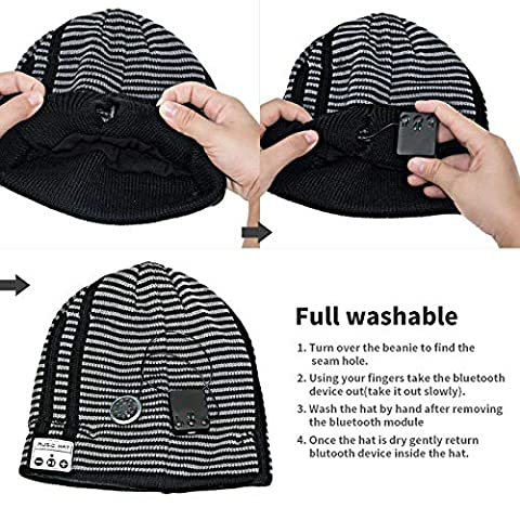 e8f165d35596d Anpress Wireless Bluetooth Beanie Hat Knitted Music Hat Built in Mic Stereo  Speakers