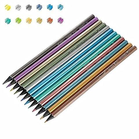 12 x Crayons de Couleur pour Dessin Professionnel Peinture Esquisse