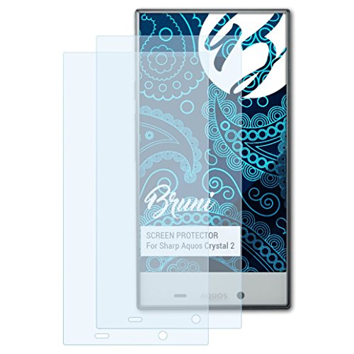 Bruni Schutzfolie für Sharp Aquos Crystal 2 Folie - 2 x glasklare - Crystal Sharp Protector Screen