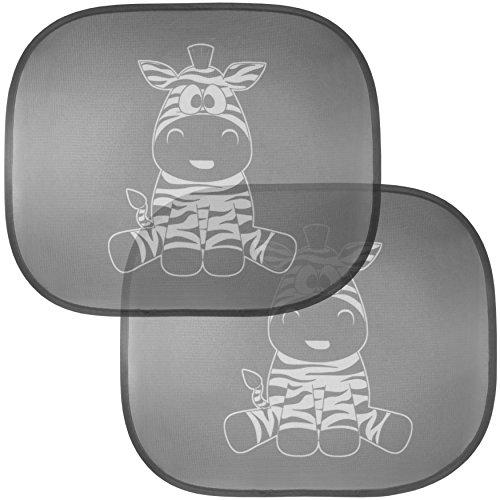 Cartoon Coches de la historieta protector solar cebra parasol para el protector del lado de succión sujetadores niños y bebés Juego de 2