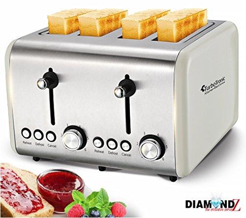 4 Scheiben Retro Toaster mit Brötchenaufsatz Vintage Design Edelstahl 1500 Watt inklusive Krümelblech