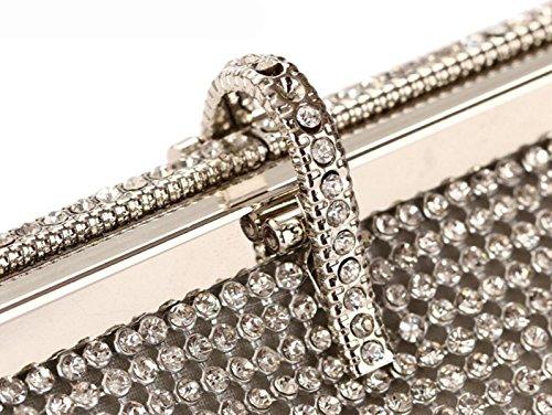 Borsa Da Donna Delle Signore Della Moda Della Borsa Del Partito Del Diamante Delle Signore Popolari Minimaliste Argento