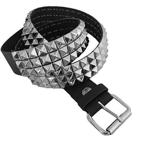 Nietengürtel aus Leder - 3 Reihen eckige Spikes - Rocker/Biker-Style - Schwarz - M (Nieten-gürtel Rocker)