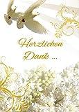 Danksagungskarten Taufe Mädchen Junge mit Innentext Motiv weiße Tauben 10 Klappkarten DIN A6 im Hochformat mit weißen Umschlägen im Set Taufekarten Dankeskarten Dankeschön Karten Kuvert Danke sagen K90