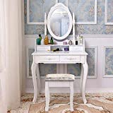 Hengda Toeletta Specchiera Tavolo Cosmetici Bianco tavol da Trucco 1 Specchio con 4 cassetti Stile coloniale Bianco Multifunzionale Tavolino da Toletta Moderno Comò