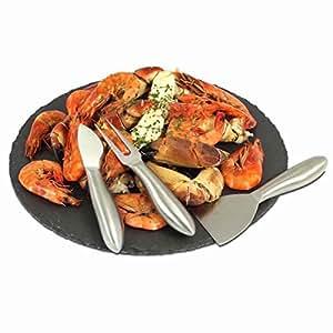 Quatre morceau d'ardoise tapas réglage- L'ensemble comprend une base de l'ardoise, 1 fourchette, 1 couteau et 1 spatule.
