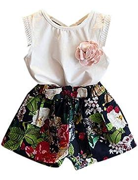 [Patrocinado]Ropa para chicas, RETUROM 2pcs niña chaleco + Set de pantalones Shorts florales