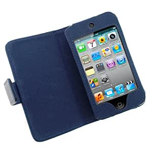 GTMax Blue Premium Folio Wallet Leather Case For Apple iPod touch 8GB 32GB 64GB (4th Generation) 4 4G NEWEST MODEL