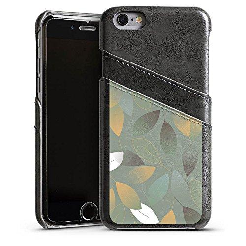 Apple iPhone 4 Housse Étui Silicone Coque Protection Automne Feuilles Vert Étui en cuir gris