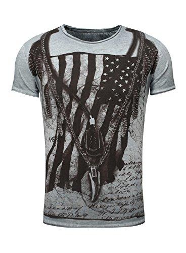 Key Largo Herren T-Shirt RACERBLADE Flaggenmotiv Printshirt Frontprint Vintage Look verwaschen Slim Fit Schnitt USA Amerika Rundhalsausschnitt blau XXL