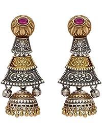 Peora Indian Traditional Antique Tribal Jewellery Oxidised two tone Jhumka Jhumki Earrings Jewellery for Women Girls
