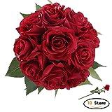 StarLifey Unechte Blumen,Künstliche Deko Blumen Gefälschte Blumen Blumenstrauß Seidenrosen Wirkliches Berührungsgefühlen, Braut Hochzeitsblumenstrauß für Haus Garten Party Blumenschmuck (Rot)
