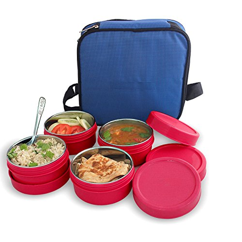 Bms Lifestyle Maxfresh In Steel & Polypropylene Lunch Box Set Pieces,Pink