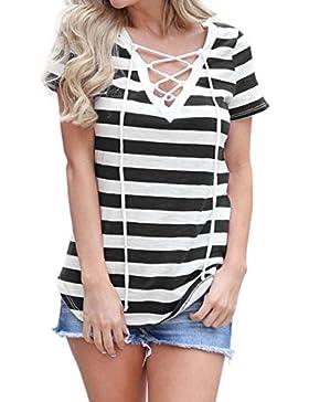 [Sponsorizzato]Camicetta Elegante Donna Rcool Motivo zebrato Camicia Manica corta Estate casuale top T shirt