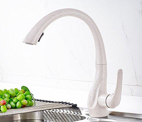 Antik Korn (MNLMJ Moderne einfache kupferne heiße und kalte Wasserhähne Küchenhahn Küchenhahn Edelstahlhahn ziehbare kalte Hitze teleskopische Dehnungszeichnung antikes Korn Geeignet für alle Badezimmer-)