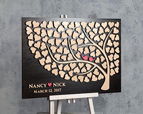 Personalisierte Baum Hochzeit Gästebuch Alternative 3D Holz Gästebuch Zeichen für Hochzeit Geschenke Hochzeit Ideen für das Paar 40x 60cm