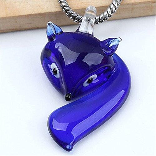 Dark Blue Glass Lampwork Fox Pendant Charm Jewelry Supplies
