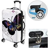 Valise rigide Butterfly avec Cadenas à combinaison - Taille XL - Voyage vacances