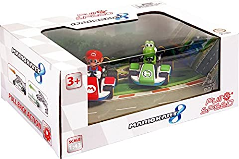 Pull & Speed 15813012Mario Kart 8 Twin Pack with Mario, Yoshi - Vehicles with Function