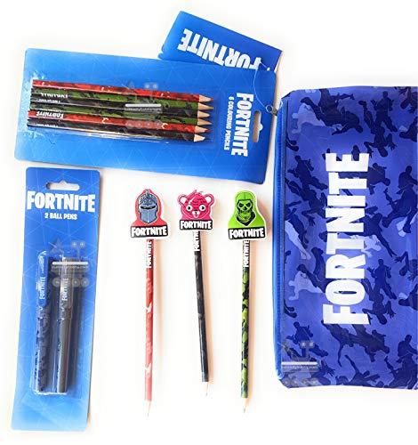 Fortnite - Juego de papelería para niños y 1 estuche grande, 6 lápi