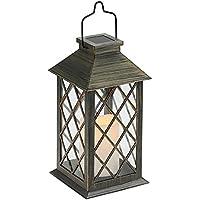 Tomshine Lanterne Solaire, LED Lampe solaire extérieure, avec Bougie LED Flamme Fire Effet ,Sans fil portable rechargeable pour Garden Patio Courtyard Outdoor [Classe énergétique A+]