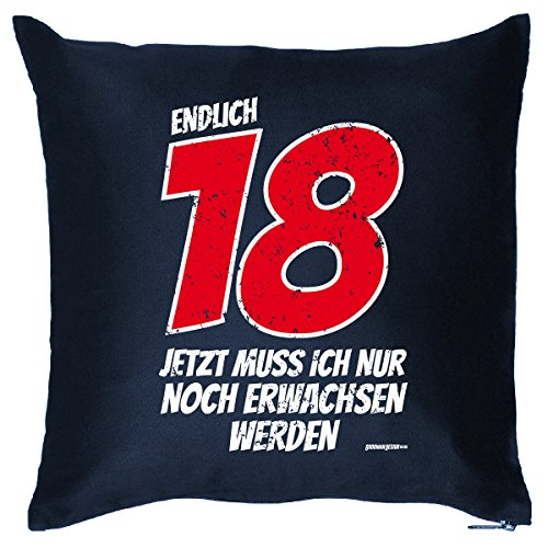 (lustiger Print - zum 18 Geburtstag zur Volljährigkeit Geschenke Idee - Kissen mit Innenkissen - endlich 18 Jahre 40x40 blau : ))