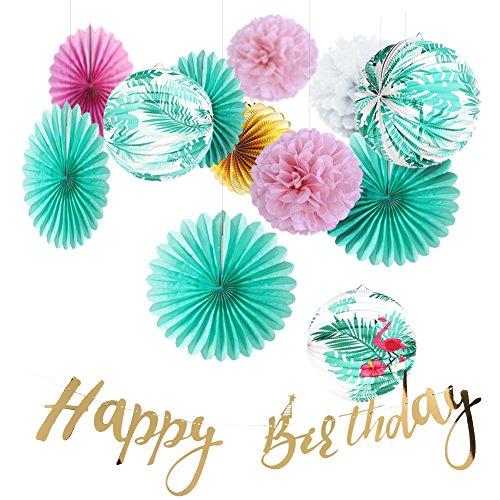 Easy Joy Anniversaire Summer Party Boule Papier Decoration Flamants Roses Lanterne Deco Happy Birthday Guirlande Or - 13pcs